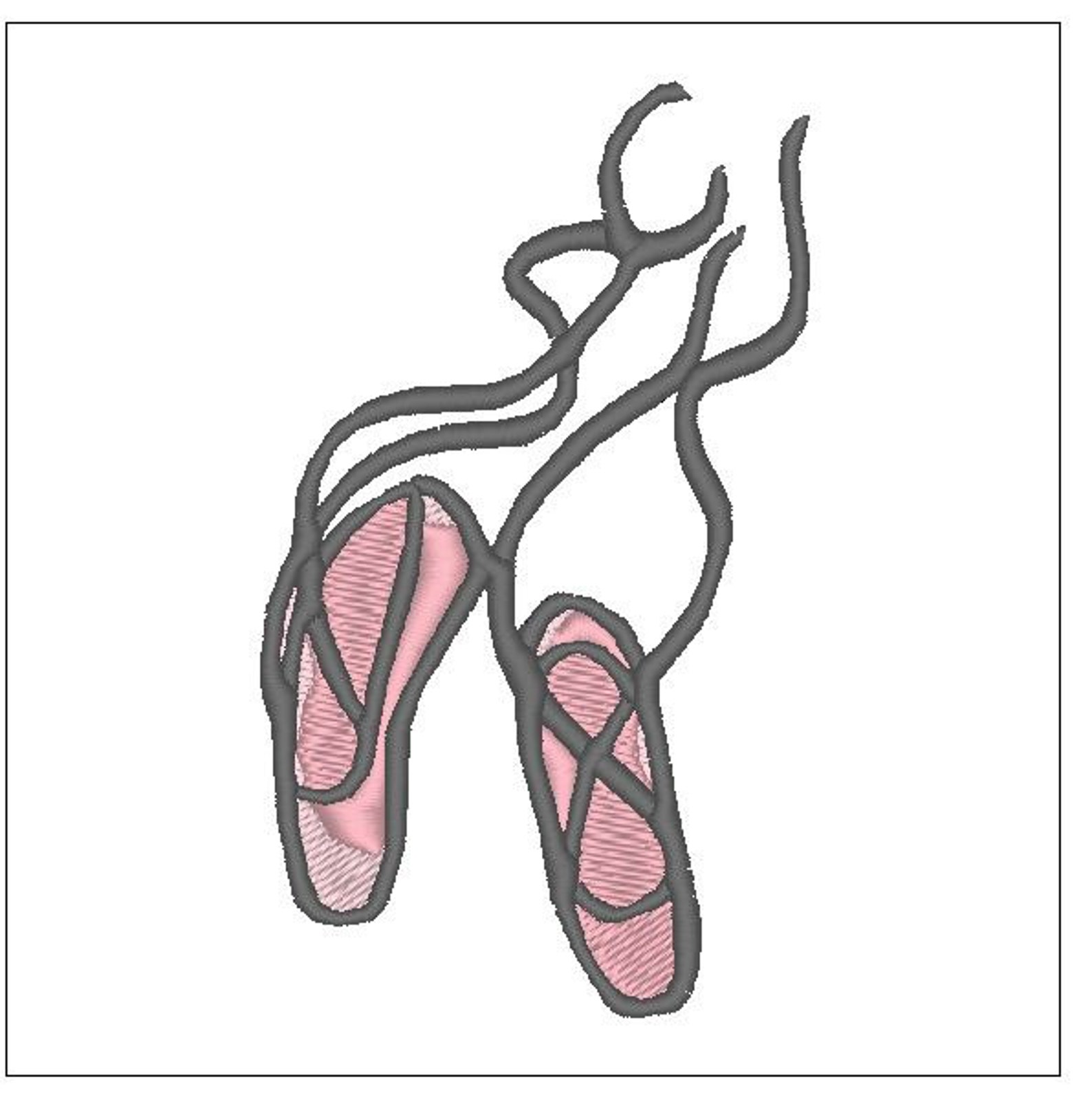 pink ballet slipper embroidery pattern 4 inch download for machine embroidery 3 colors