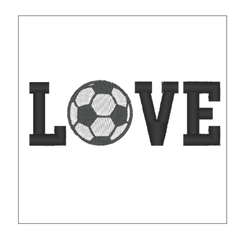 Futbol bola amor fútbol diseño bordado patrón 4 pulgadas | Etsy