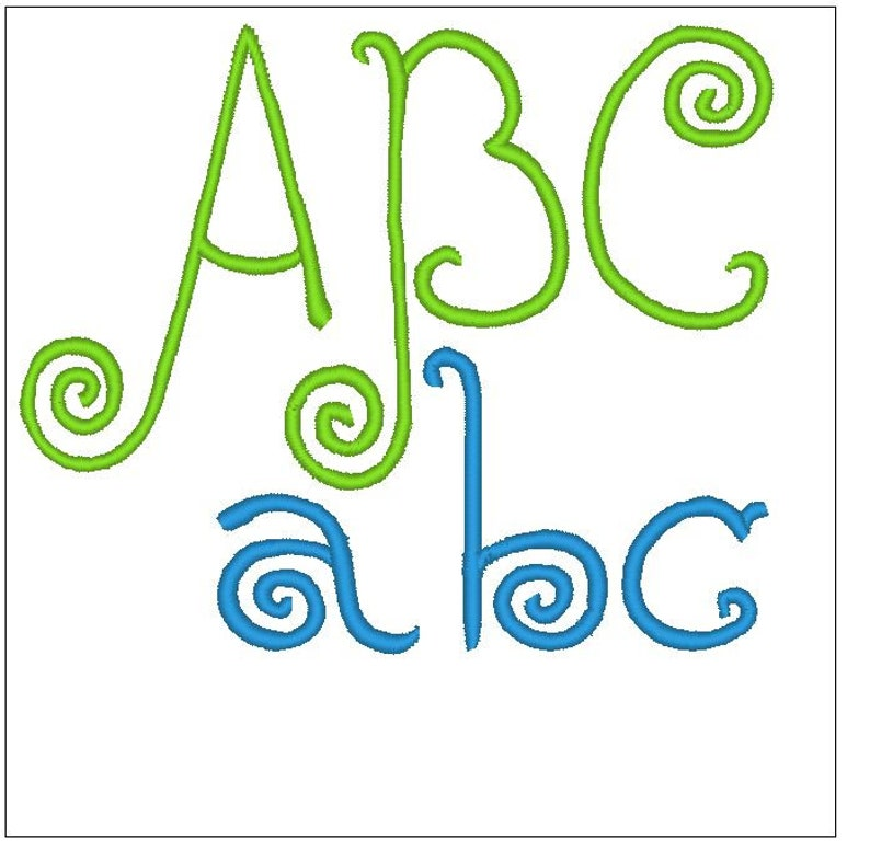 Rebecca curl type font 1 inch embroidery pattern download for Machine  Embroidery 4X4 hoop