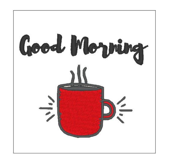 Café Buenos días cocina toalla bordado patrón 4 pulgadas | Etsy