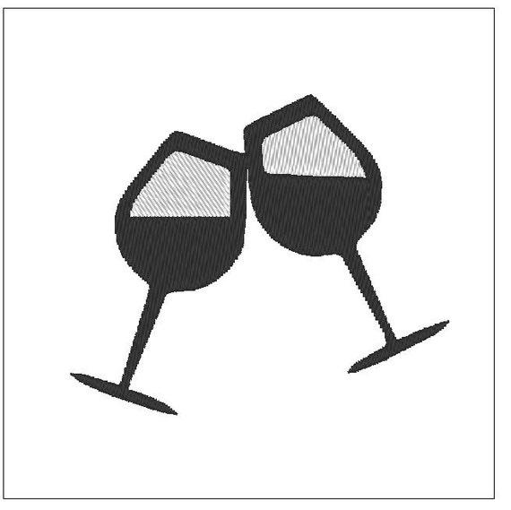 copas de vino bordado patrón 4 pulgadas descargar para el bordado de la  máquina