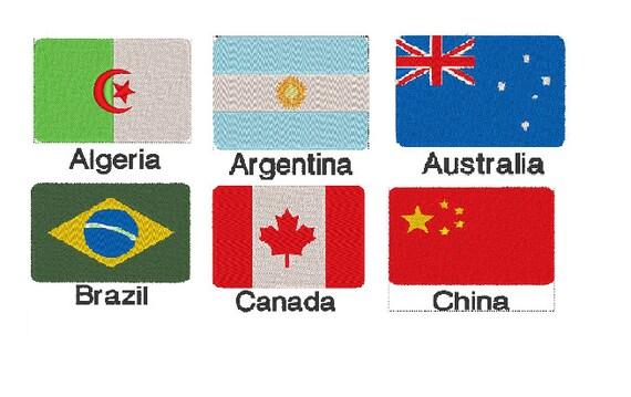 6 bandera de mundo parche Descargar patrón de bordado para el