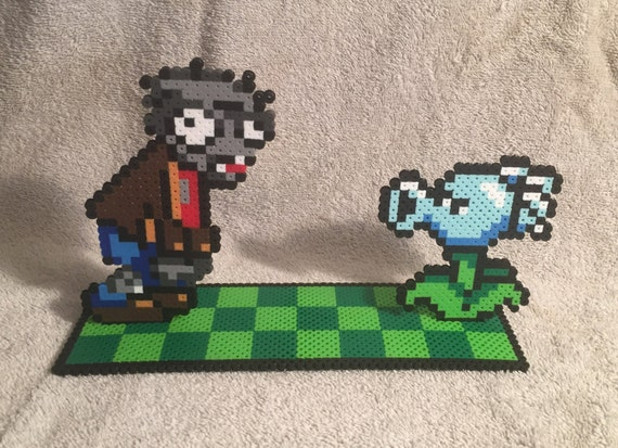 Plants Vs Zombies Scene Snow Pea Vs Zombie Collectible Bead Sprite Pixel Art Geeky Gift
