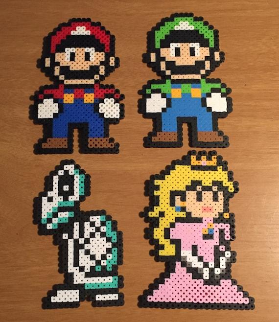 Super Mario Perler Bead Character Nerdy Collectible Pixel Art Nintendo Bead Sprite Luigi Peach Dry Bones