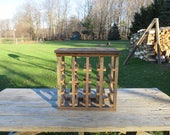 Free Standing Rustic Wine Rack Made of Historic Pennsylvania Reclaimed Barn Wood - Handmade - Holds 16 bottles