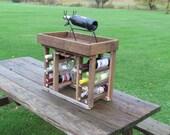 6 Bottle Wine Rack with Wine Glass Display, Rustic Wine Rack, Custom made Furniture made of Reclaimed, Distresses Barn Wood
