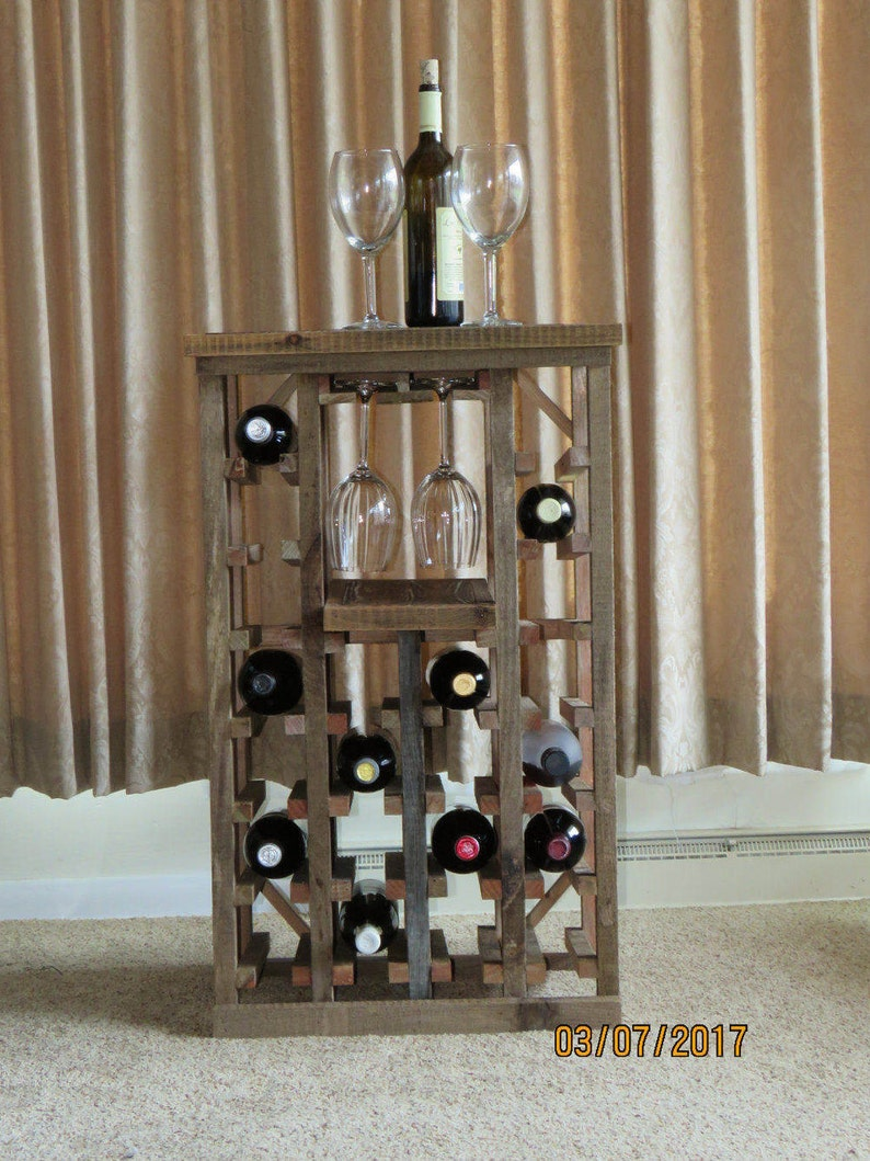 22 Bottle Rustic Wine Rack Barnwood Furniture Handmade Etsy