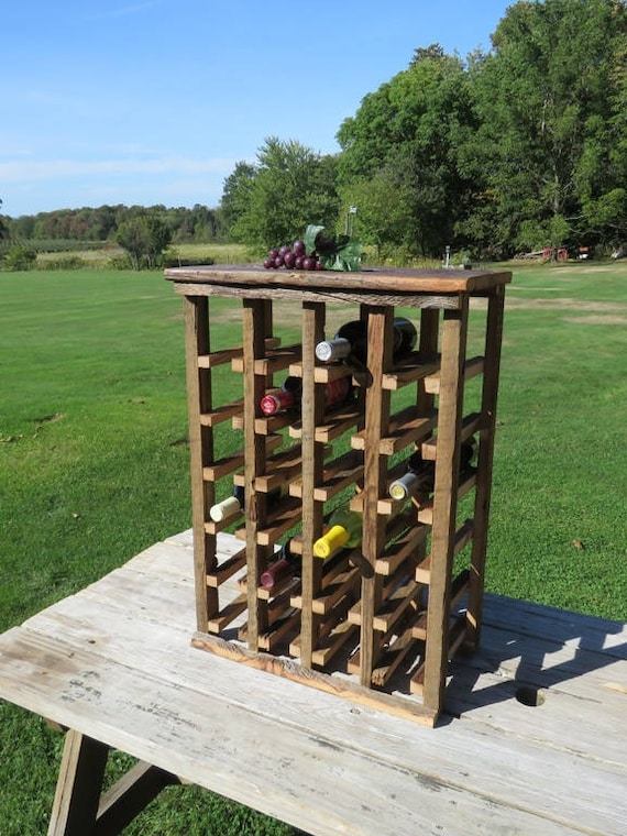 Wine Rack Free Standing Rustic Wood 24 Bottle Wine Storage Etsy