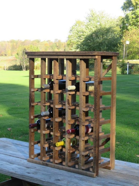 Free Standing Rustic Wooden Wine Rack Made Of Etsy