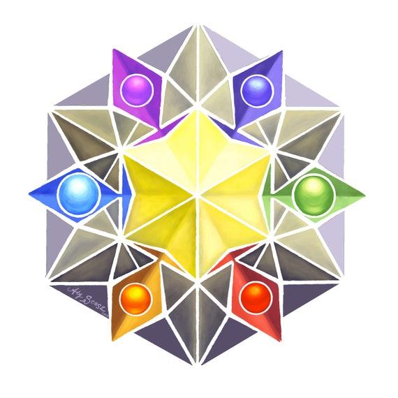 6x6 Matowy Druk Cyfrowy Czakry Star Czworościanu Etsy
