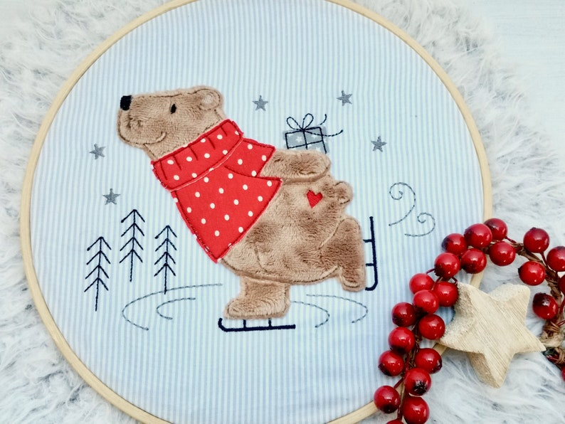 Embroidery file Skating Bear 18x30 7x12