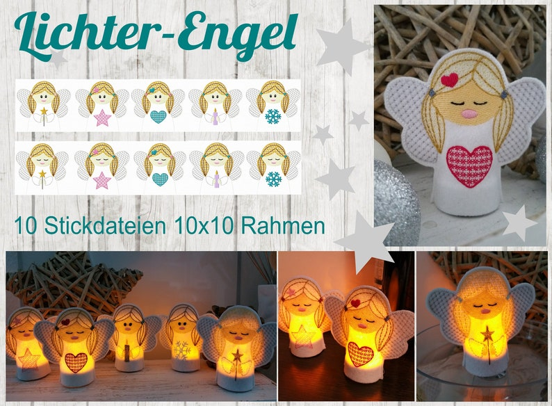 10 Embroidery Files Lights Angel 10x10 Frame image 0