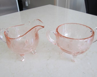 Vintage Etched Glass Cream and Sugar