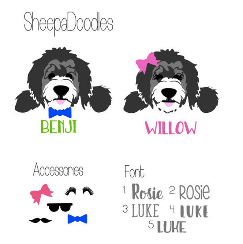 Sheepadoodle Decal | Doodle Sticker | Sheepadoodle Sticker | Personalized  Doodle | dog decal | pet sticker | personalized pet decal