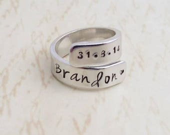 customised ring, personalized ring, hand stamped ring, personalized jewelry, adjustable ring, silver ring, gift for her, secret message