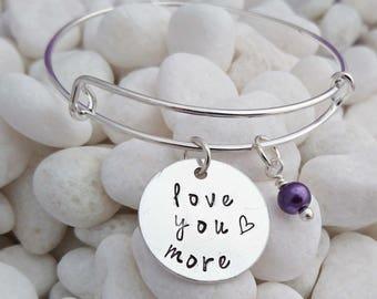 love you more bracelet, gift for her, anniversary gift, bangle bracelet, girlfriend gift, wife gift, adjustable bangle, i love you bracelet