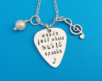 words fail where music speaks, music necklace, music jewelry, musical gift, treble cleft, musical note, musical note gift, music lover gift