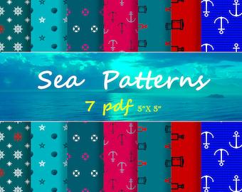 scrapbook paper SeaPatterns 90% Off SALE Digital Paper Pack