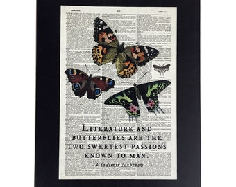 "Repurposed Antique Dictionary Page Wall Decor - Butterflies - ""Literature and Butterflies"" by Nabokov"