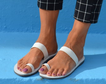 White Greek sandals, White color sandals, White leather sandals, Toe ring sandals, Leather Grecian sandals, Handmade sandals, Many colors