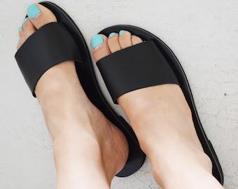 Black Greek Leather Slides Sandals   Open Toe Flat Sandals   Minimal Sandals   Black Slide Sandals   Black Leather Slides ''Emily''