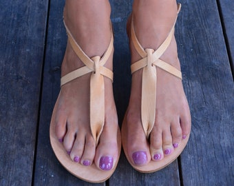 Sandals, Open Toe Greek leather sandals, Thong sandals, Ankle strap sandals ''Sabrina''