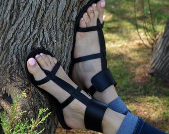 Black Sandals Gladiator, Ankle Cuff sandals, Women Sandals, Thong sandals, Ancient Greek sandals, Black Leather ''Myrto''