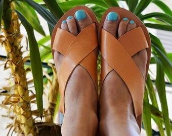 Slingback grec sandales, sandales en cuir, sandales de grec antique '' Naxos''