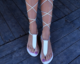 Sandales gladiateur en cuir, sandales gladiateur blanc, attache de sandales en cuir, lacets de sandales, sandales grecques antiques, sandales T-strap