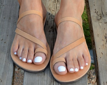 Handmade Greek Sandals, Toe ring Sandals, Summer Leather Flats, Natural leather sandal, Handmade sandals, Leather Slip on Sandals ''Ioanna''