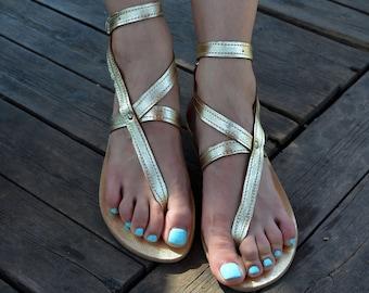Gold Sandals, Ankle Strap Greek Sandals ''Nephele'', Gold Summer Sandals, Thong Leather Sandals, Greek Strappy Sandals