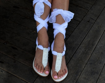Bridal sandals, White leather sandals, White Beach Wedding Sandals, White lace up Sandals, White Wedding flats ''Lily''