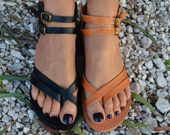 Handmade sandals, Women sandals, Strappy sandals, Greek leather sandals, Ankle strap sandals