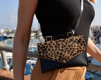 ac1f8c61904 Leopard fanny pack, Black/leopard belt bag, Leather waist bag, Animal Print  BumBag, Waist Leopard Bag, Festival Hip Pouch, Hands-free clutch