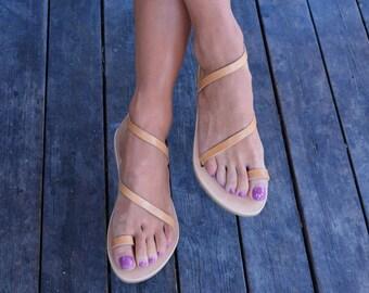 Genuine Leather Sandals ''Athena'' | Greek Sandals | Natural Leather Flats | Wedding sandals | Elegant Strappy Shoes