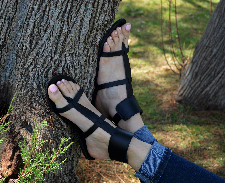 2d6d980d524 Black Sandals Gladiator Ankle Cuff sandals Women Sandals