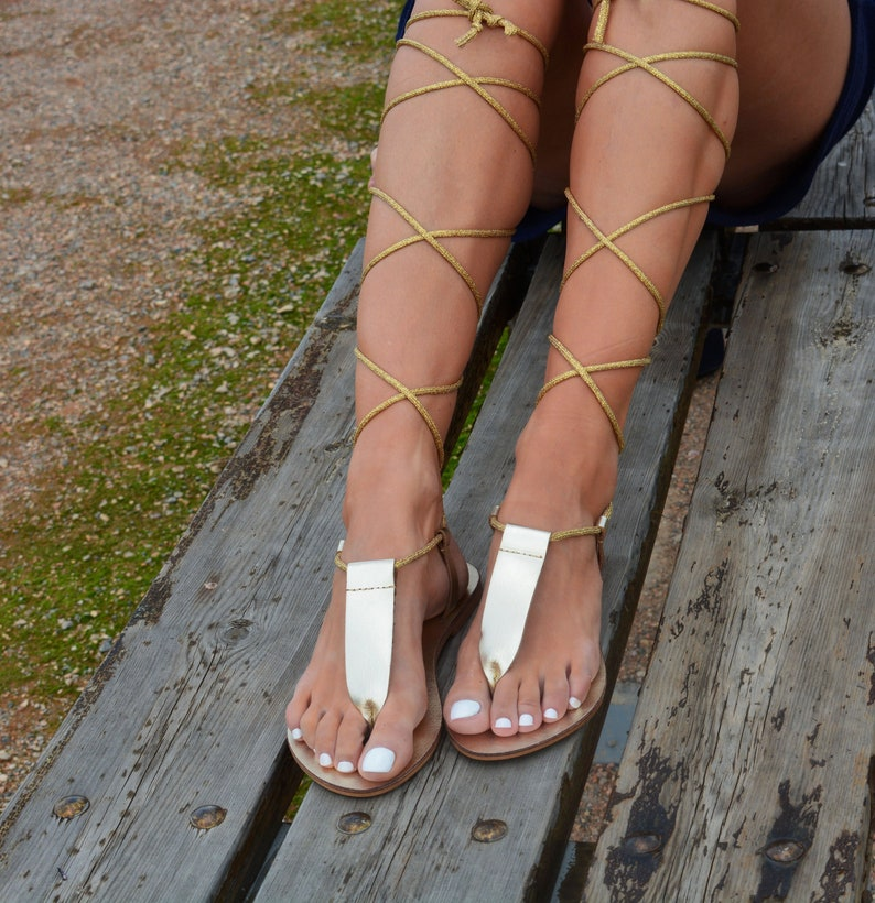 19ae2c468a9e Gold leather sandals Gold Gladiator Sandals Ancient Greek
