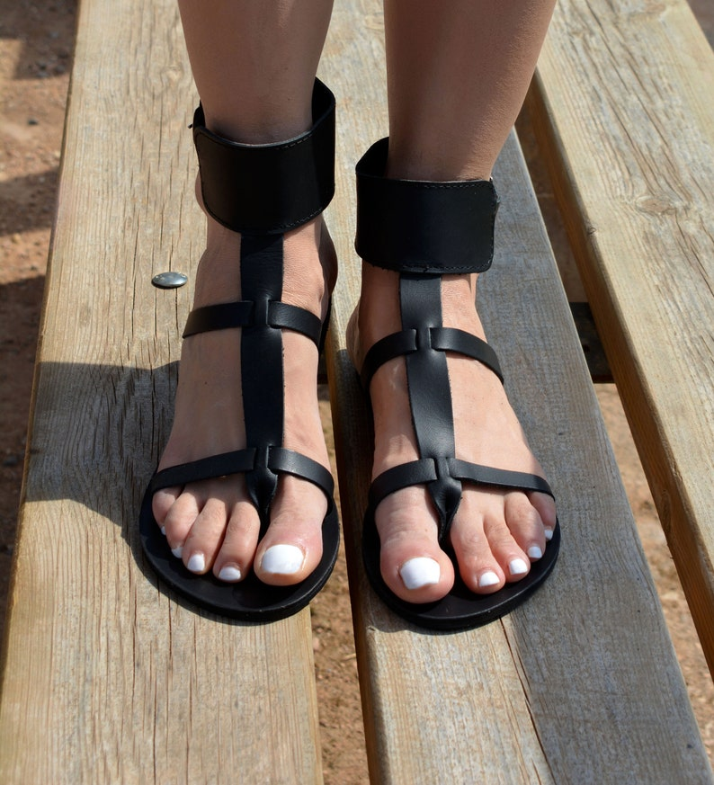 3549cdae0ba8 Black Sandals Gladiator Ankle Cuff sandals Women Sandals