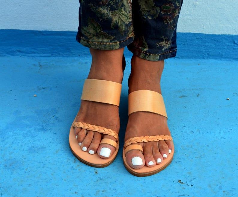 d710d98822d18 Anesi sandals, Ancient Greek leather sandals, Slide sandals, Women flat  sandals, Handmade braided sandals, Leather sandals, Toe ring sandals