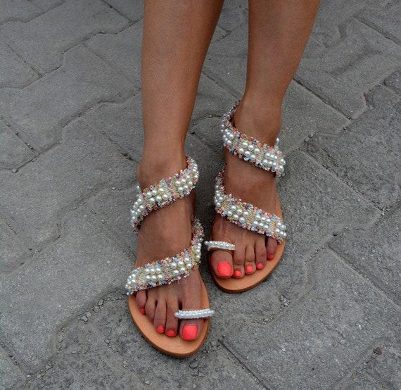 Luxurious sandals Boho Greek chic Handmade ''Chiara'' Bridal sandals Pearl sandals sandals sandals sandals Wedding sandals RCn1FYqxwH