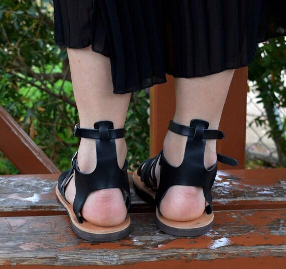 leather Sandals ''Milos'' strappy Gladiator Black sandals Handmade Spartan nxqSwp84