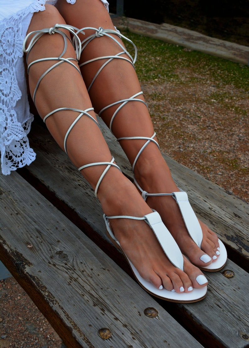 45aa878961b White leather sandals Leather Gladiator Sandals White | Etsy