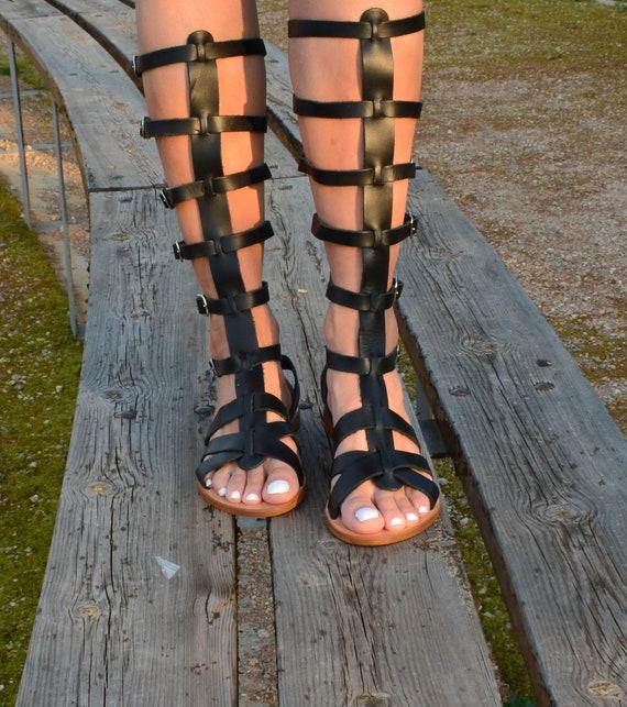 Black Gladiator Sandals, Leather Gladiator sandals, Tall Gladiator Sandals, Knee high Gladiator Sandals, Ancient Greek Sandals ''Elektra''
