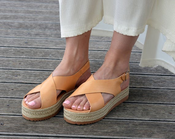 a54ab4c00c Greek Sandals Espadrilles Sandals Leather Flatform Sandals   Etsy