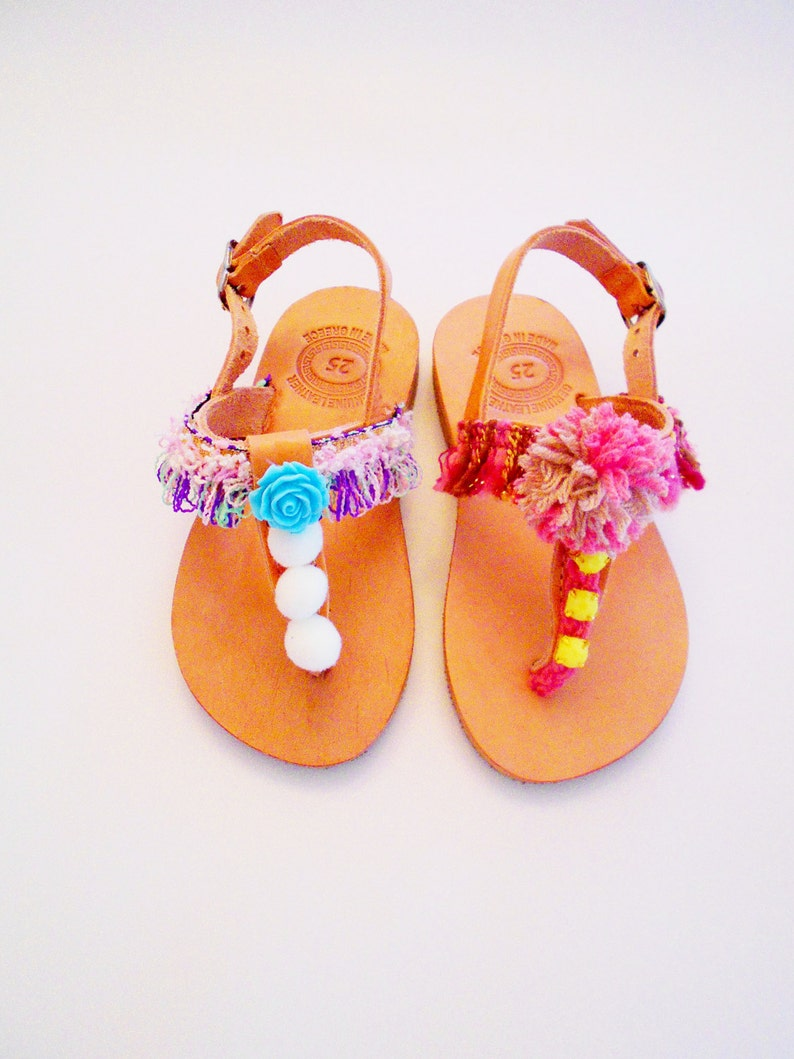 d08efa8c4 Girls Pom Pom Sandals ''BonBon'' Kids   Etsy