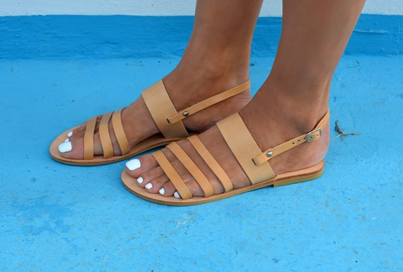 Natural sandals tan Sandals sandals ''Malou'' Greek Ancient leather Greek Slingback Greek sandals 1O1SRrWnq