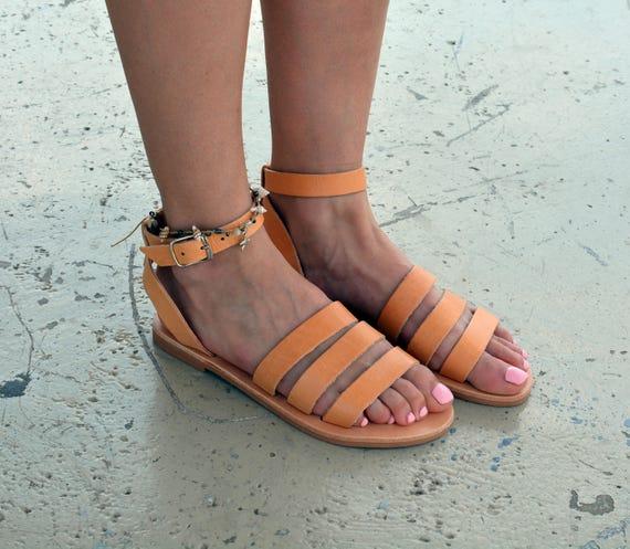 cheville sangle grec cuir en sandales en sandales grecques de Sandales chaussures sandales cuir femmes U1TwqY