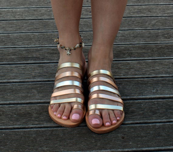 with Greek Women ''Eleftheria'' straps Gold ring Leather Ancient sandals Toe Sandals sandals leather Sandals Sandals ftdwOxOqS