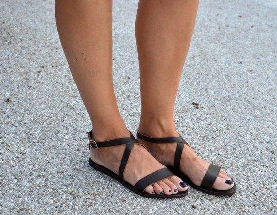 Brown Greek Sandals ''Melissa'' | Criss Cross Leather sandals | Open Toe Leather Sandals | Brown Ankle Strap Sandals (Brown & Tan)