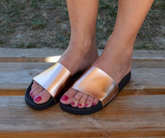 de plage piscine noir toboggans glisse sandales et sandales toboggans pantoufles plage or cuir Rose '' Rhodes'' tongs Piscine tongs 0Fpwx